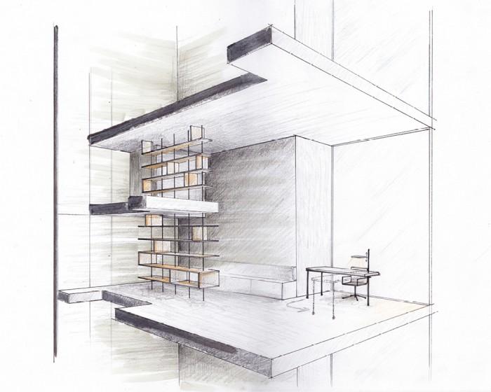 06-Zeichnung des Wohnzimmers:Arbeitsbereich