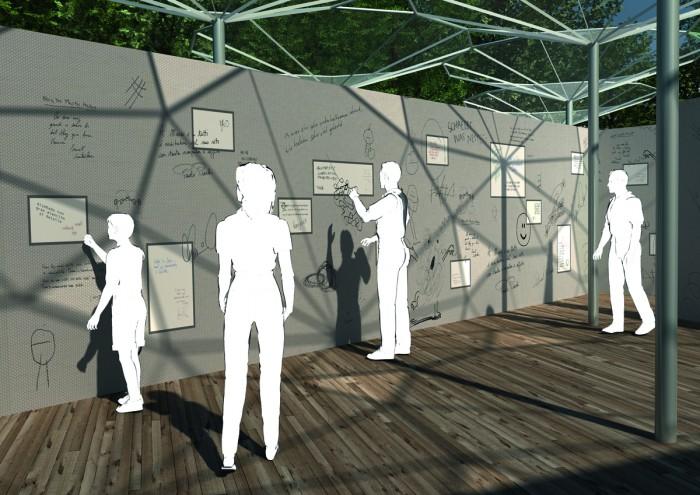 5 3D-GÑstebuch mit spezieller Wandstruktur und Monitoren