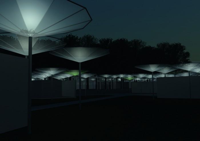 6 Nachtansicht mit angeleuchteten Schirmen