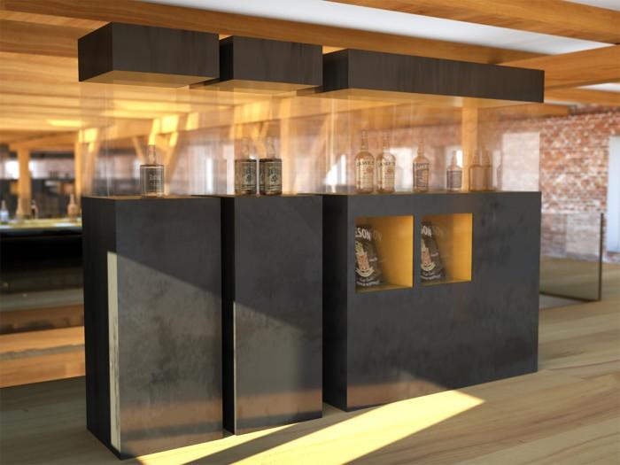 Whiskysammlung Vitrinen in der Ausstellung im 2OG